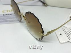 New CHLOE CE142S Rosie Petite Flower Gold Brown Eyewear Sunglasses Women