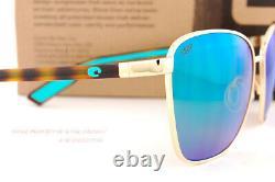 New Costa Del Mar Sunglasses PALOMA Shiny Gold Tortoise Green Mirror 580P Polar