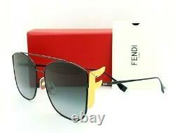 New Fendi sunglasses FF0380/G/S 8079O 62mm Black Gold Fendi F / Grey Gradient