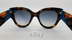 New Fendi sunglasses FF 0264/S 0086 51mm Tortoise Blue Gold Mirror AUTHENTIC