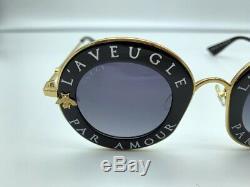 New GUCCI GG0113S Laveugle Par Amour Black Gold Gray Round Sunglasses Women