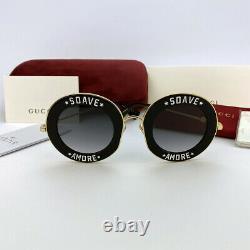 New GUCCI GG0113S SOAVE AMORE Gold Black / Gray Round Eyewear Sunglasses Women