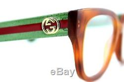 New GUCCI Womens GLITTER Havana Green Stripe Eye Glasses Frame GG0037O 002 37O