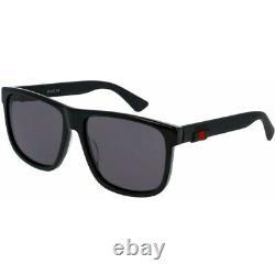 New Gucci Black Acetate Rectangle Frame Men's Sunglasses GG0010S-001