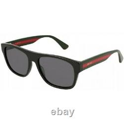 New Gucci Black & Red Acetate Rectangular Frame Men's Sunglasses GG0341S-001
