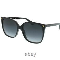 New Gucci Black Square 57mm Grey Gradient Women's Sunglasses GG0022S-001