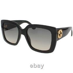 New Gucci Black Square Frame Grey Gradient Women's Sunglasses GG0141S-001