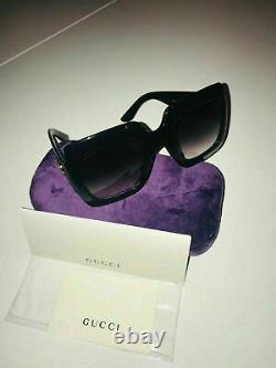New Gucci GG0053S Authentic Oversized Square Black Women Sunglasses