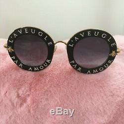 New Gucci GG0113S 001 Black Silver Sunglasses 44mm L'Aveugle Par Amour