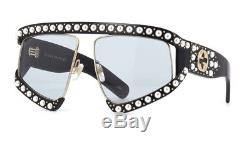 New Gucci GG0234S 001 Black with Pearl Oversize Women Sunglasses