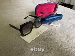 New Gucci GG0418S Authentic Oversized Square Black Women Sunglasses