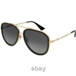 New Gucci Polarized Grey Gradient Aviator Women's Sunglasses GG0062S-011