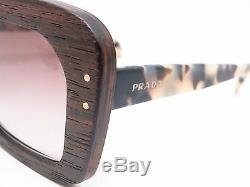 New PRADA PR30RS UBT-0A7 51MM White Havana Ebony Malabar Wood Sunglasses F/ Ship