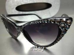 New VINTAGE 60s CAT EYE Style BLING Black SUN GLASSES Hematite Crystals Handmade