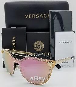 New Versace sunglasses VE2177 12524Z Gold Pink Cateye Shield Medusa GENUINE 2177