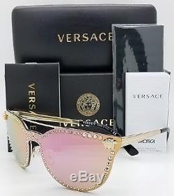 e422ac3eb2e11 New Versace Sunglasses Ve2177 12524z Gold Pink Cateye Shield Medusa Genuine  2177