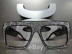OVERSIZED VINTAGE RETRO Style Clear Lens EYE GLASSES Square Black Bling Frame