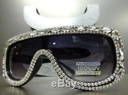 OVERSIZE VINTAGE RETRO SHIELD Style SUN GLASSES Unique Black Frame & Rhinestones