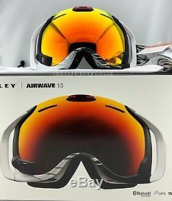 Oakley AIRWAVE 1.5 Goggles OO7049-05 White With Fire Iridium HUD, Bluetooth, GPS