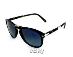 POLARIZED Steve McQueen Edt PERSOL Folding Black Blue Sunglasses PO 714 SM 95/S3