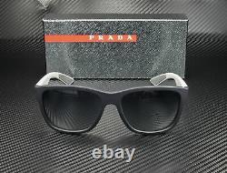 PRADA LINEA ROSSA PS 03QS UR73A0 Blue Rubber Lt Grey Blue 57 mm Men's Sunglasses