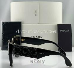 Prada Cateye Sunglasses SPR 10T 1AB-5S0 Black Gold Frame Gray Lens Ornate NEW