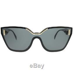 Prada PR 16TS 1AB5S0 Black Plastic Cat-Eye Sunglasses Grey Lens