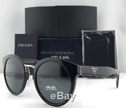 Prada Round Sunglasses SPR 05T PR 05T Black Gray Lens 1AB-1A1 Brand New