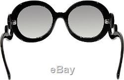 Prada Women's Gradient PR27NS-1AB3M1-55 Black Round Sunglasses