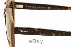 Prada Womens SPR 30R UBT0A7 Dark Wood Havana Sunglasses Authentic New