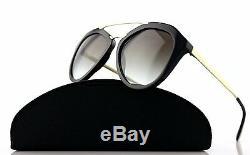 RARE Genuine PRADA Cinema Catwalk Black Gold Sunglasses PR 12QS 1AB-0A7 SPR 12Q