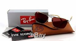 RARE Genuine Ray-Ban CARAVAN Bronze Copper Red Mirror Sunglasses RB 3136 167/2K