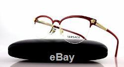 RARE Genuine VERSACE Red Pale Gold Cat Eye Glasses Half Rim Frame VE 1235 1376