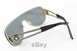 RARE Genuine VERSACE Rock Icon Black Pale Gold Shield Sunglasses VE 2166 1252/87