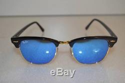 RAY BAN CLUBMASTER RB3016 51/21 Sunglasses Black Frame / Blue FLASH Lens-Medium