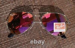 RAY BAN FLASH MIRROR AVIATOR PINK WOMEN UNISEX 58mm sunglasses NEW USA