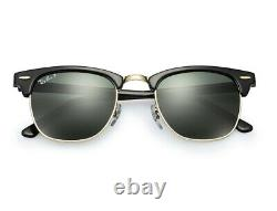 RAY BAN RB3016 CLUBMASTER Classic POLARIZED 51/21 Sunglasses Black Frame