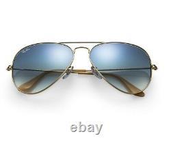 RAY BAN RB3025 58/14 AVIATOR Sunglasses LIGHT BLUE GRADIENT Lens, GOLD Frame