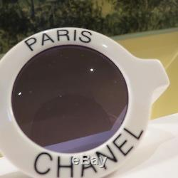 Rare Chanel Iconic Paris White Round Sunglasses #01945/10601 Excell Condition