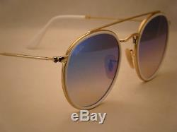 Ray Ban 3647N Round Double Bridge Gold w Blue Gradient Mirrror (RB3647N 001/4O)
