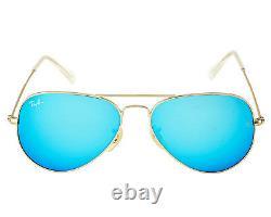 Ray Ban RB3025 Aviator Flash Lens 112/17 Gold Frame /Blue Flash Glass Lens 55mm
