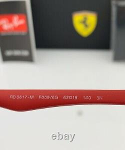 Ray-Ban RB3617M Ferrari Sunglasses F0096G Black Frame Red Silver Mirror Lens 62