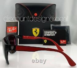 Ray-Ban RB4309M Ferrari Sunglasses F602/H2 Matte Black Silver Mirror POLARIZED