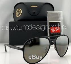 Ray-Ban RB4320CH Aviator Sunglasses 601S5J Matte Black Silver Mirror POLARIZED