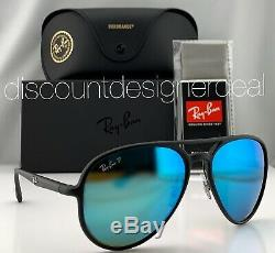 Ray-Ban RB4320CH Aviator Sunglasses 601SA1 Matte Black Blue Mirror POLARIZED