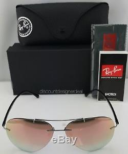 Ray Ban RB8058 Aviator Sunglasses 159/B9 Grey Metal / Pink Mirror 59mm New