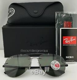 Ray Ban RB8059 Aviator Sunglasses 004/9A Gray Metal Green Polarized Lens 57mm