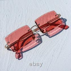 Red Tint Mens Rimless Square Gold Frame Rectangular Hip Hop Fashion Sunglasses