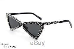 SAINT LAURENT SL 207 JERRY 53 Shine Black Rhinestone Sunglasses Auth