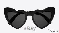 SAINT LAURENT WAVE181 LOULOU Black Heart Sunglasses %100 Authentic